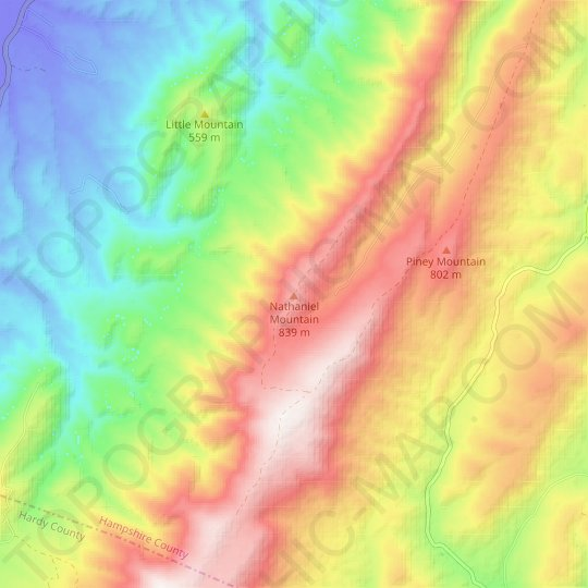 Nathaniel Mountain topographic map, relief map, elevations map
