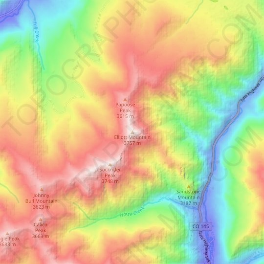 Elliott Mountain topographic map, relief map, elevations map