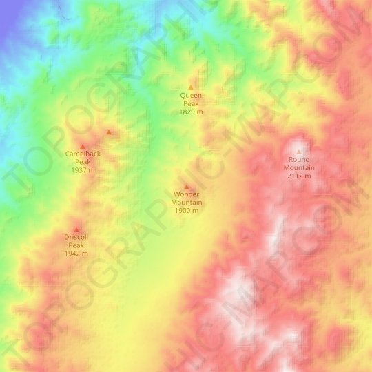 Wonder Mountain topographic map, relief map, elevations map