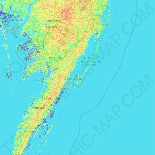 Chincoteague Island topographic map, relief map, elevations map