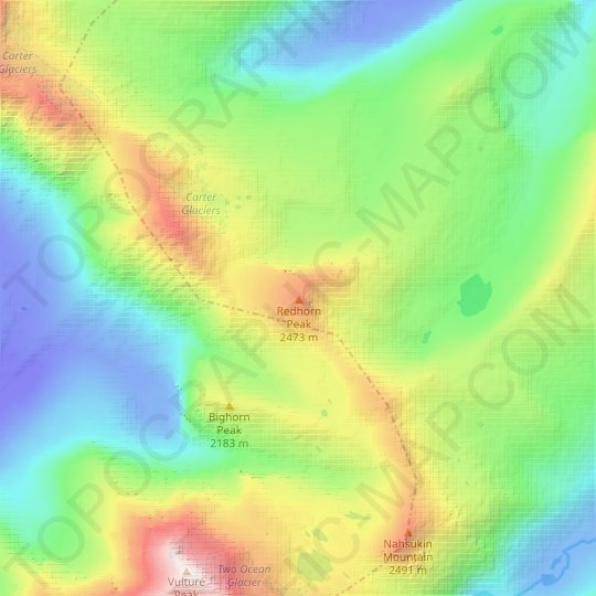 Redhorn Peak topographic map, relief map, elevations map