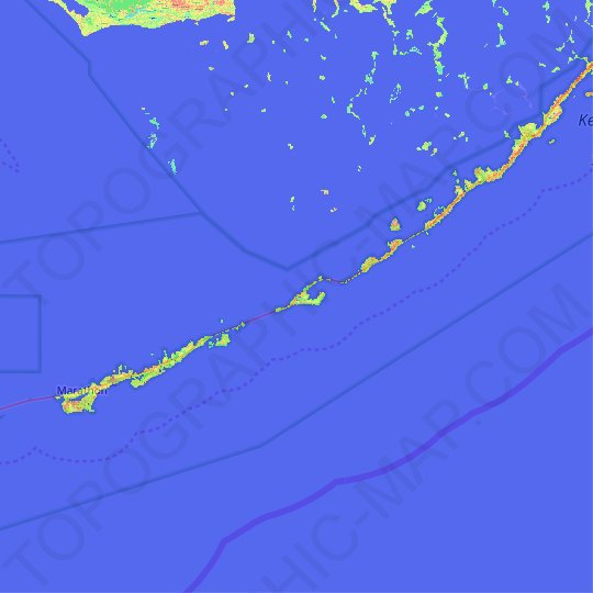Long Key topographic map, elevation, relief