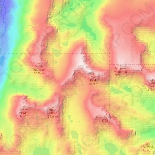 Sky Top Glacier topographic map, elevation, relief
