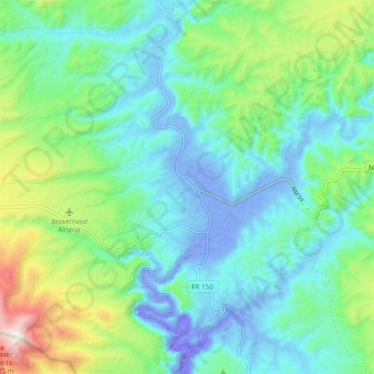 Beaverhead Ranger Station topographic map, elevation, relief