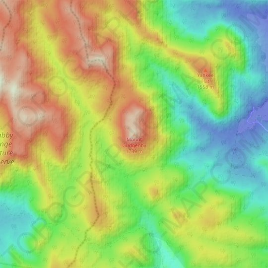Mount Gudgenby topographic map, relief map, elevations map