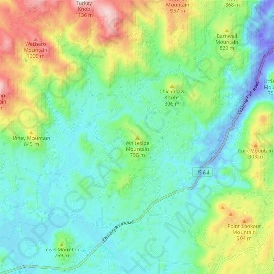 Whiteside Mountain topographic map, elevation, relief