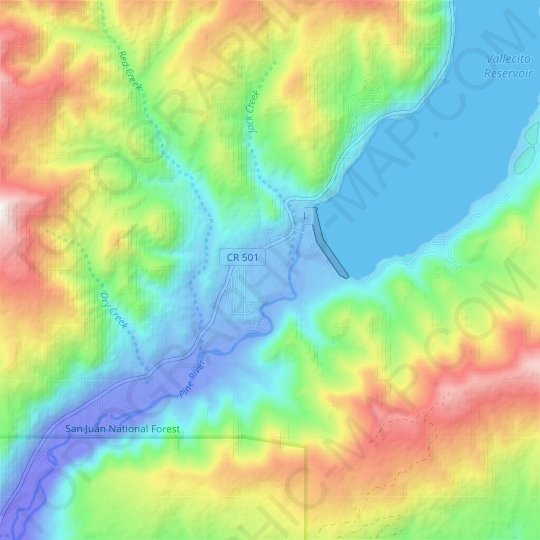 Vallecito topographic map, elevation, relief