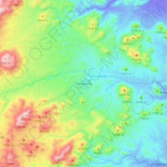 Tamazirte topographic map, relief map, elevations map