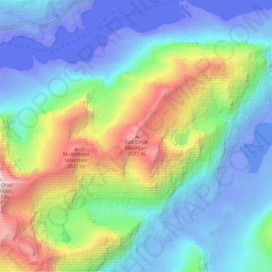 Red Eagle Mountain topographic map, elevation, relief