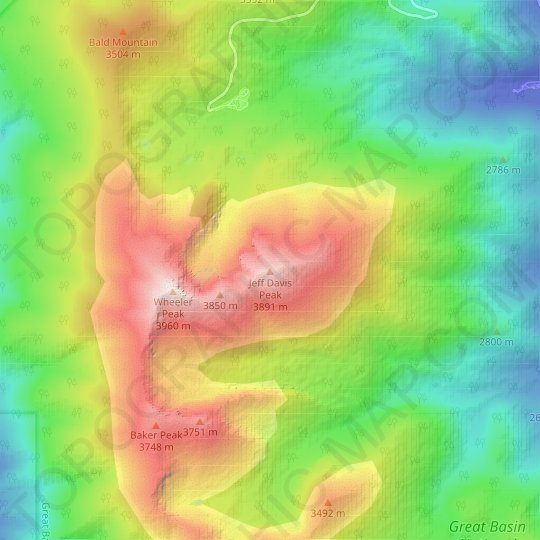 Jeff Davis Peak topographic map, elevation, relief