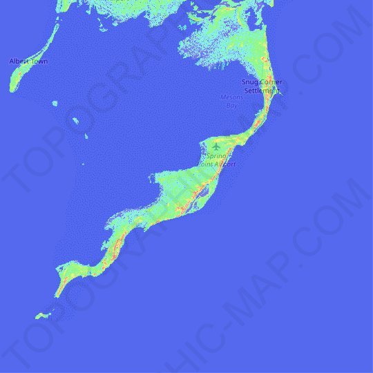 Acklins Island topographic map, relief map, elevations map
