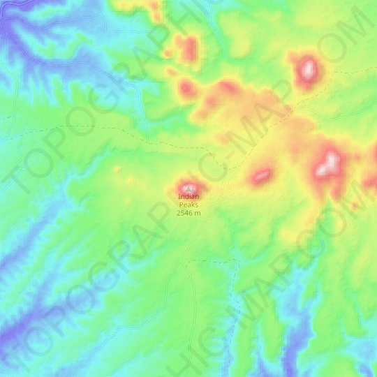 Indian Peaks topographic map, elevation, relief
