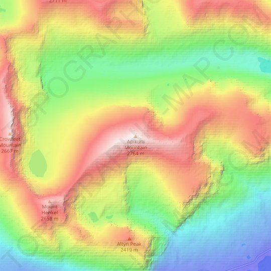 Apikuni Mountain topographic map, elevation, relief