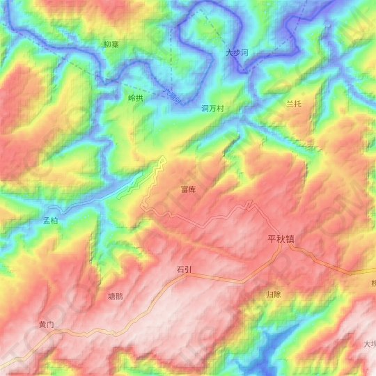 Fuku topographic map, elevation, relief