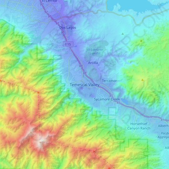 Temescal Valley topographic map, elevation, relief
