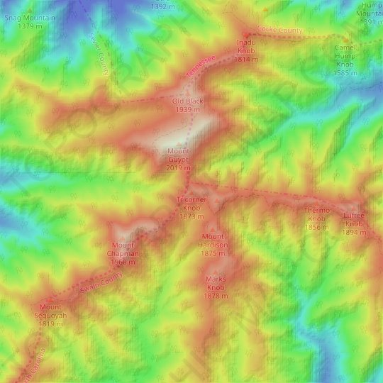 Tricorner Knob topographic map, relief map, elevations map