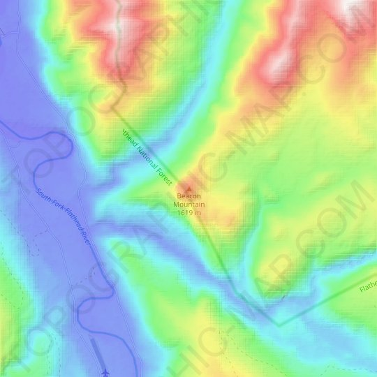 Beacon Mountain topographic map, relief map, elevations map