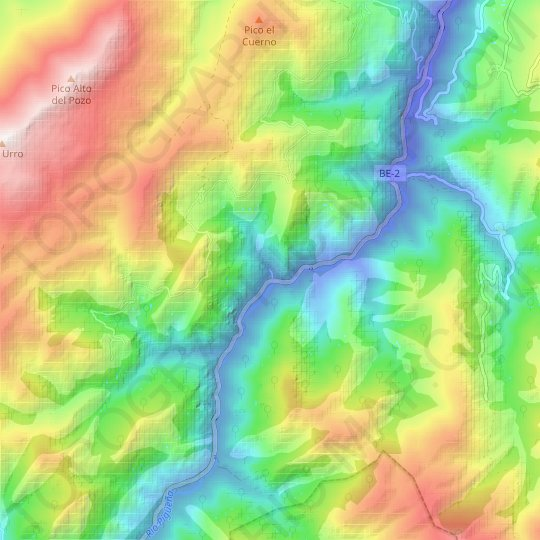 Rozos topographic map, elevation, relief