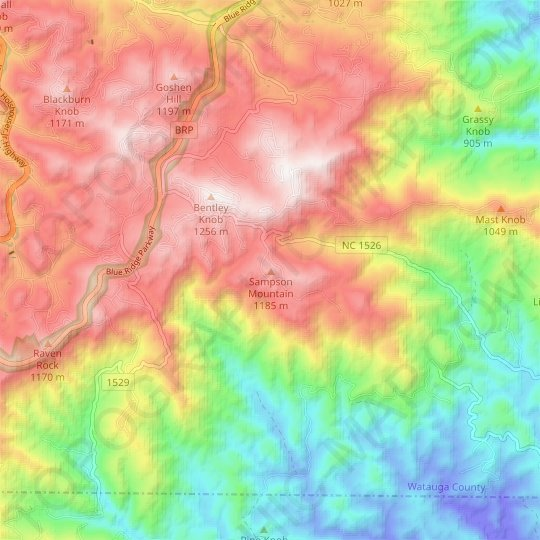 Sampson Mountain topographic map, relief map, elevations map