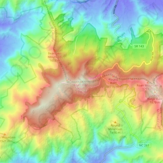 Roan Mountain topographic map, elevation, relief