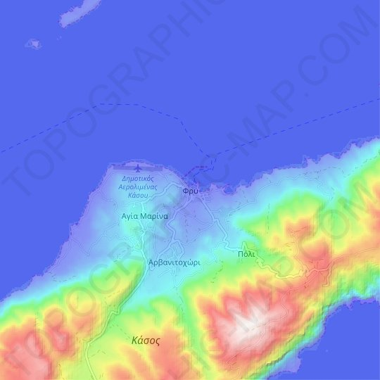 Fry topographic map, relief map, elevations map