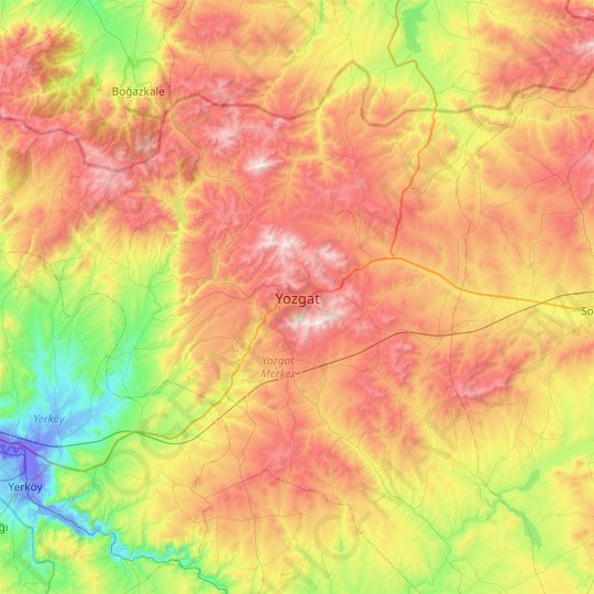 Yozgat topographic map, relief map, elevations map