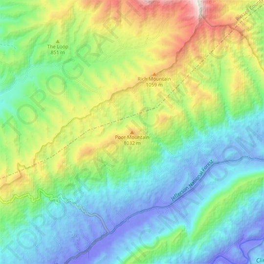 Poor Mountain topographic map, relief map, elevations map