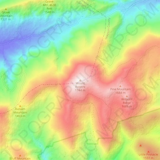 Mount Rogers topographic map, relief map, elevations map