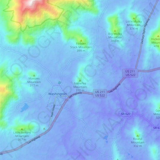 Menefee Mountain topographic map, relief map, elevations map