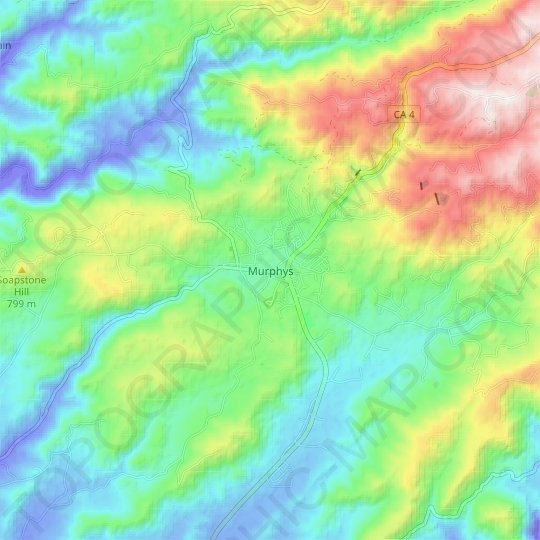 Murphys topographic map, elevation, relief