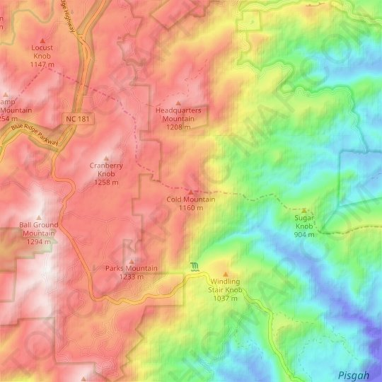 Cold Mountain topographic map, relief map, elevations map