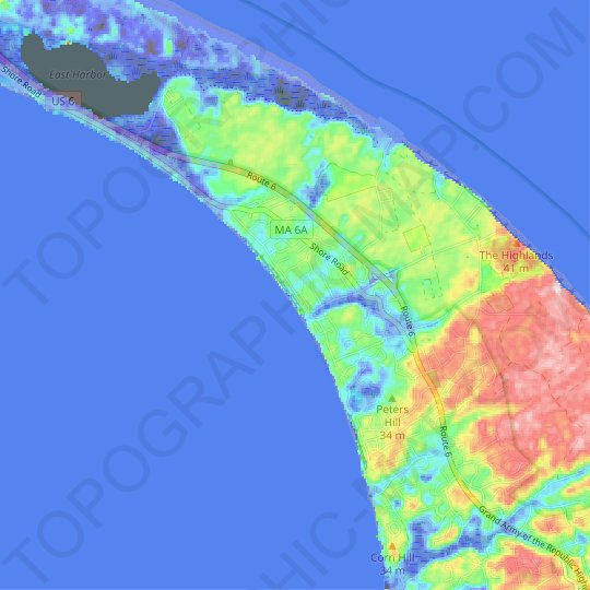 North Truro topographic map, elevation, relief
