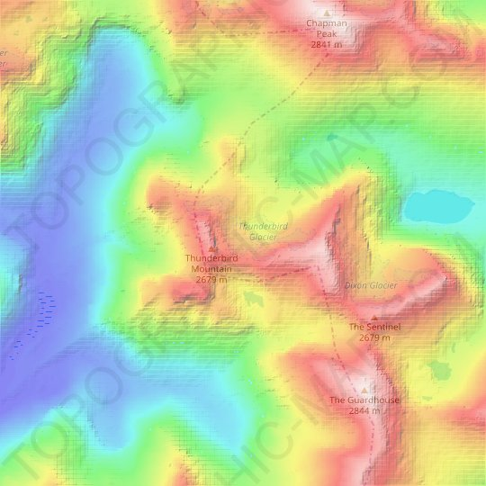 Thunderbird Glacier topographic map, relief map, elevations map