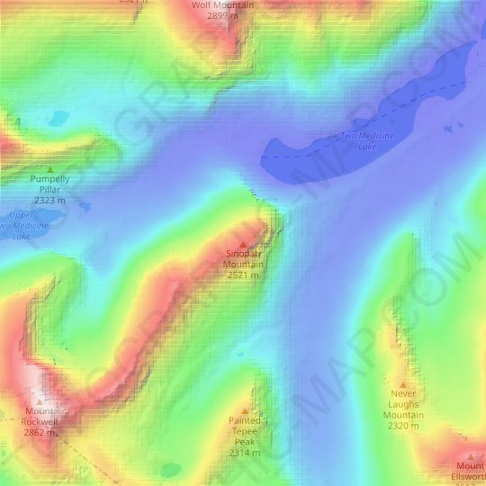 Sinopah Mountain topographic map, relief map, elevations map