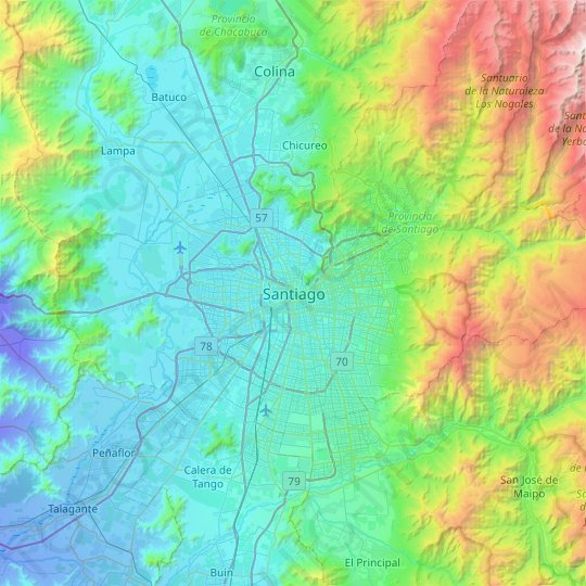 Santiago topographic map, relief map, elevations map