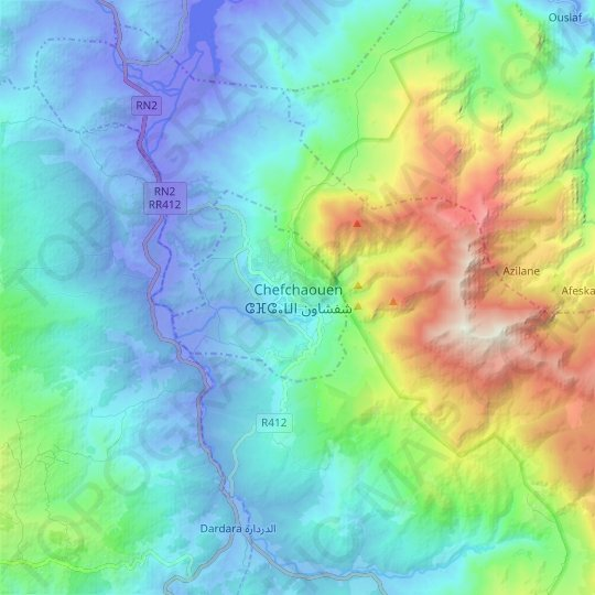 Chefchaouen ⴰⵛⵛⴰⵡⵏ شفشاون topographic map, relief map, elevations map