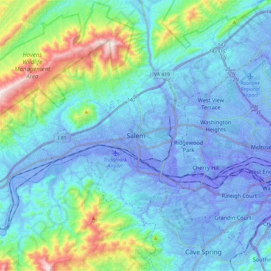Salem topographic map, relief map, elevations map