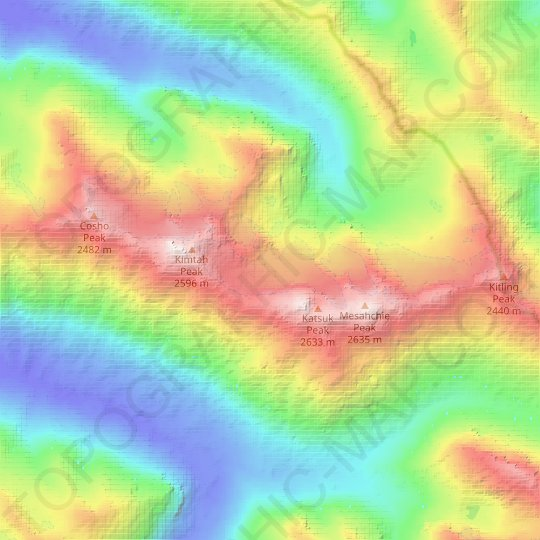 Katsuk Glacier topographic map, relief map, elevations map