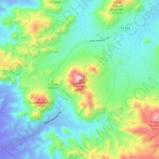 Sawtooth Mountain topographic map, relief map, elevations map