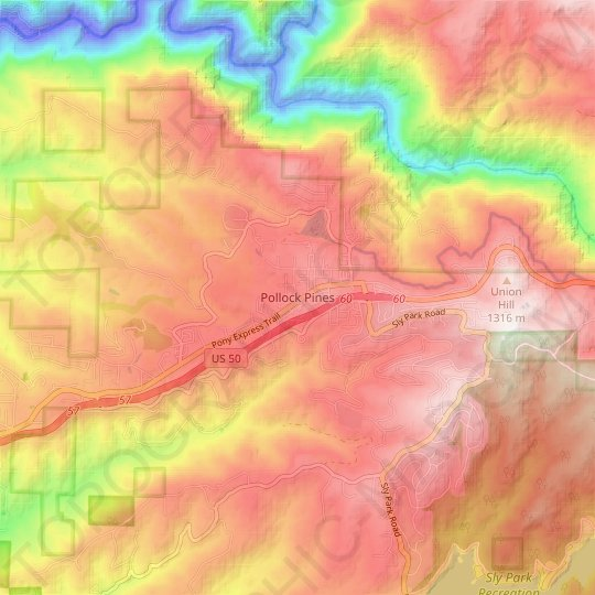 Pollock Pines topographic map, elevation, relief