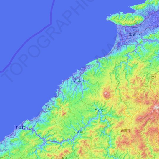 Ōda topographic map, relief map, elevations map