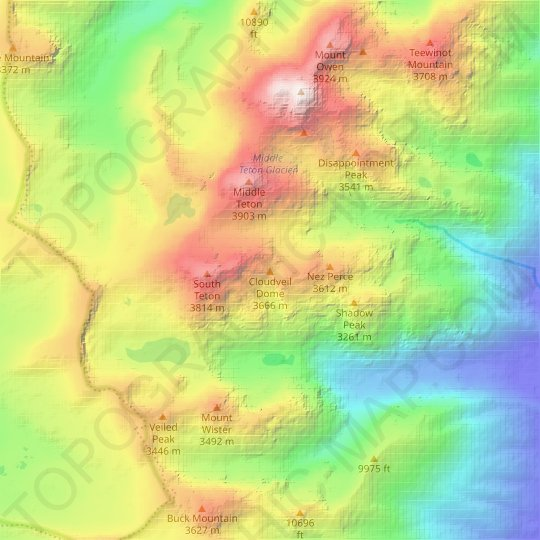 Cloudveil Dome topographic map, relief map, elevations map