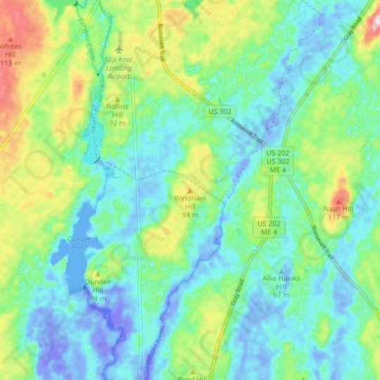 Windham Hill topographic map, elevation, relief