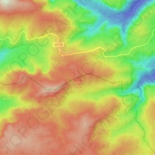Doane Peak topographic map, relief map, elevations map
