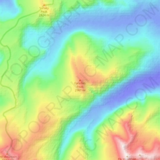 Forellen Peak topographic map, relief map, elevations map