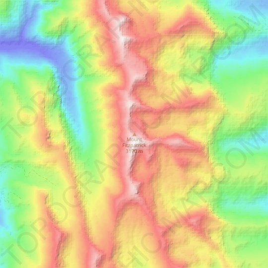 Mount Fitzpatrick topographic map, relief map, elevations map