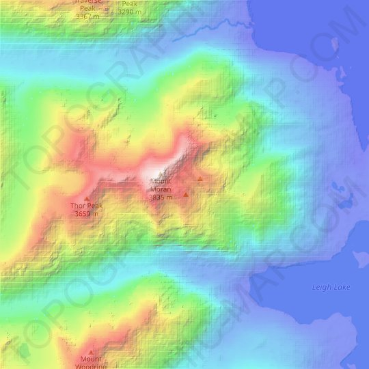 Falling Ice Glacier topographic map, relief map, elevations map