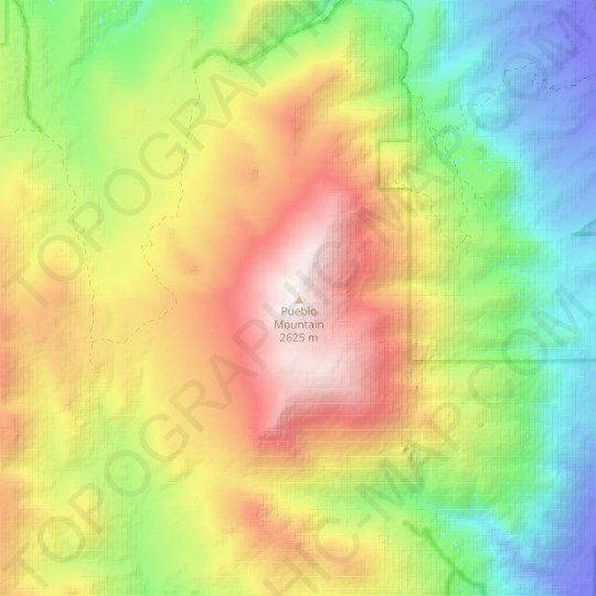 Pueblo Mountain topographic map, relief map, elevations map