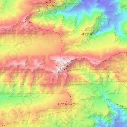 Cerro Tristeza topographic map, relief map, elevations map