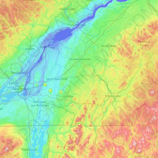 Acton topographic map, relief map, elevations map